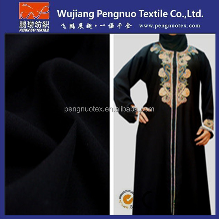 100% polyester wool peach fabric for arab / korean black abaya for keffiyeh arab scarf fabric