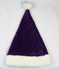 OEM Wholesale Luxury Plush Decorated High Quality Black Santa Claus Christmas Hat