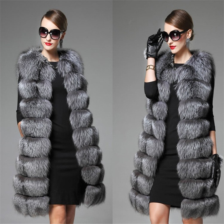 Hot Sell Delicate Fur Coat And Winter Vest /Long Silver Fox Fur Vest Fur Coat With High Quality