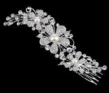wedding draped hair comb, bridal flower tuck comb with pearls