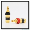 OEM Gold Plated Pure Copper Audio Cable Binding Post Male Plug Speaker Wire Connectors Phono Terminals