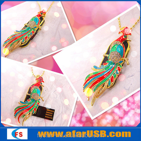 2015 Jewelry Peacock USB Flash Drive,2GB/4GB/8GB Diamond USB Disk