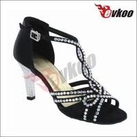 Stylish ladies crystal covered Latin dace shoes high heel low price