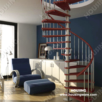 PVC handrail wood tread spiral stairs