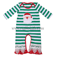 Factory price infant toddler romper wholesale green striped lace baby long sleeve christmas longall