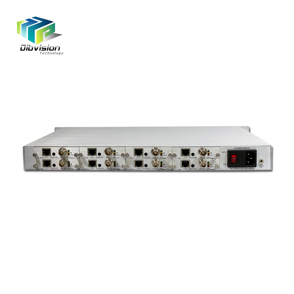 Improved video picture 1RU Chassis 8 Channel hdmi video capture to ip encoder h.264/hevc hdmi rtsp encoder to lan/ethernet