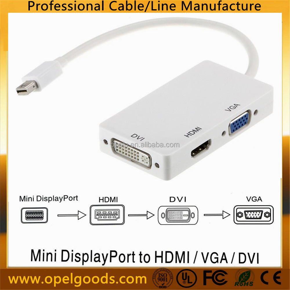 Factory 3 in1 Mini Display Port Thunderbolt to DVI VGA HDMI Adapter DP Cable
