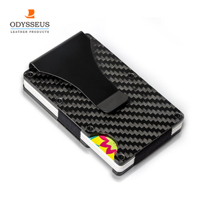 Free Sample Men Slim RFID Blocking Carbon Fiber Wallet Money Clip