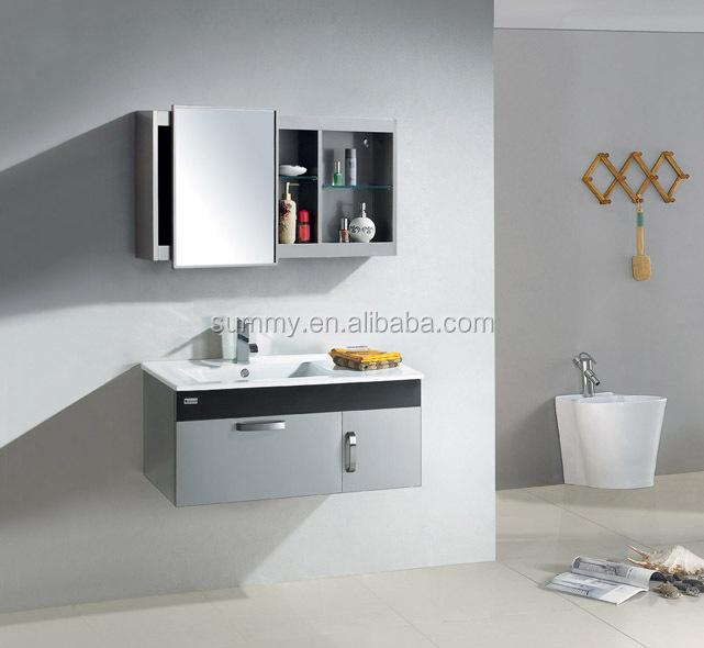 modern mirror cabinet and stainless steel bathroom vanity