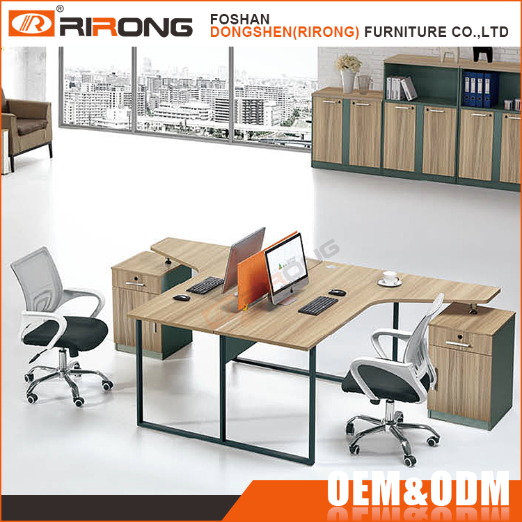 Modern steel frame modular partitions office 2 seat office desk T shaped office desk