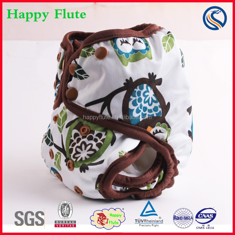 Happy flute adjustable cloth baby diaper nappy cover with bamboo insert