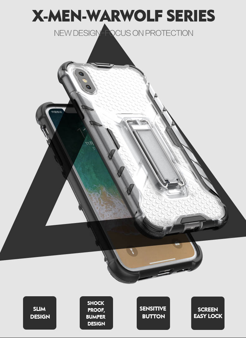 Unique Design tpu pc for iphone x clear case shock proof hybrid custom