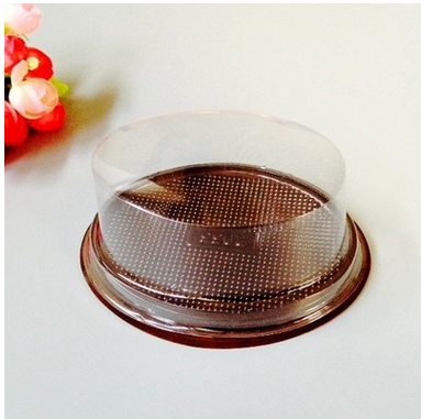 Customized Round Food Grade Plastic Clear PET Blister Cake/Dessert Box With Dome