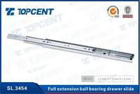 [SL.3454] 45mm height 1.2mm thickness full-extension side mounted metal ball bearing drawer runners