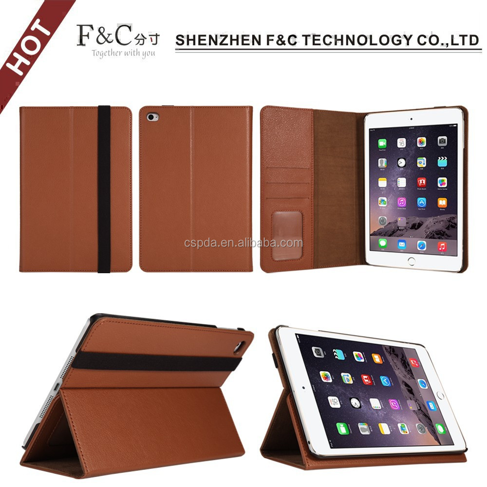 2015 brand new Smart Cover For iPad mini 4 PU Leather Sleep Wake Stand Cover Case For iPad Mini 4