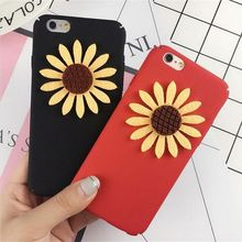 Fashion Lovely Phone Case for iPhone 6 6s Plus 7 7Plus 3D Luxury Sunflower Hard PC Back Cover Bag Protect Cases Coque Caqa
