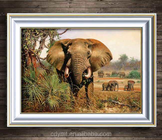 2016 high quality wholesale custom oil painting of elephants art on canvas