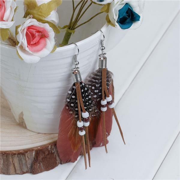 <strong>Fashion</strong> White & Brown 10.2cm long Natural Feather Tassel Earrings