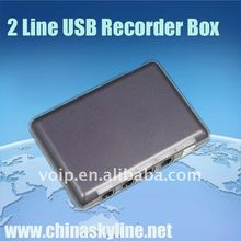 TYH8201,support FSK and DTMF,2 lines usb telephone recording box/analog phone call recorder
