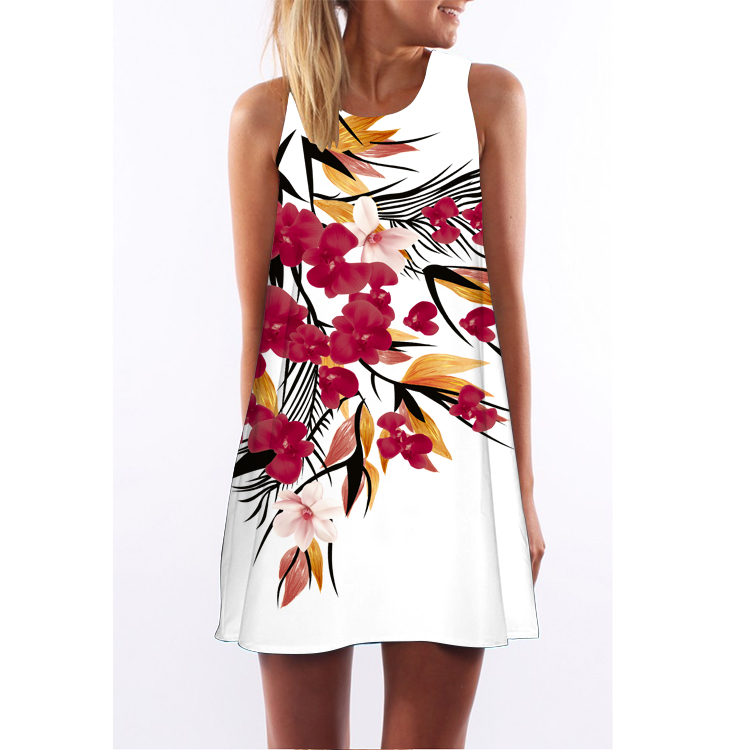 OEM Ladies 3D Printed Dress Cocktail Dress Wholesale Women Floral Round Neck Sleeveless Dress