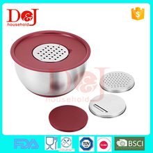 3 pcs Silicone bottom stainless steel PP lid salad mixing bowl with grater