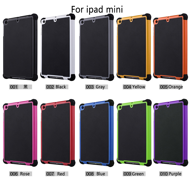 2017 Tpu pc silicone Armor Impact Skin Protective Case Cover For Apple Ipad Mini 2 Case