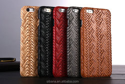 2016 Luxury Knit Weave Braid Pattern Cowhider TPU Coated soft Back Cover Case for iPhone 6 ,Cell phone leather coated hard