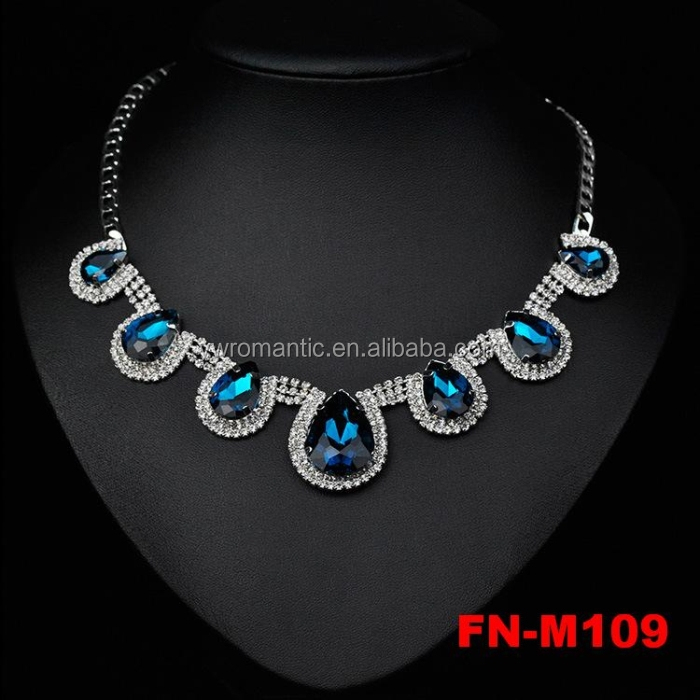 New stocks popular elegant blue sapphire beads necklace