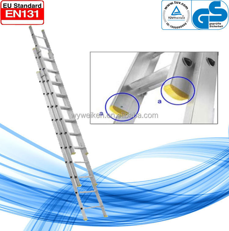 WK-E11 aluminum 3 section extension ladder/step extension ladder/three parts combination extension ladder