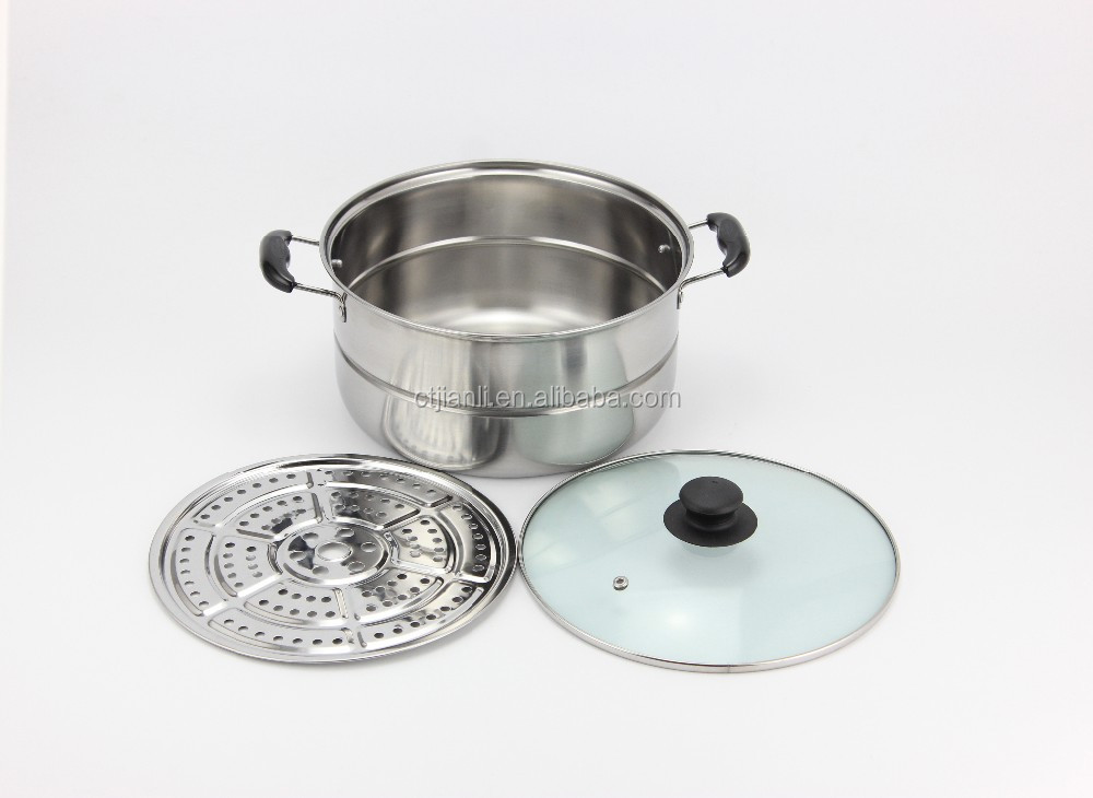 Wholesale kitchenware Stainless steel double used soup pan with laser polish made by 201