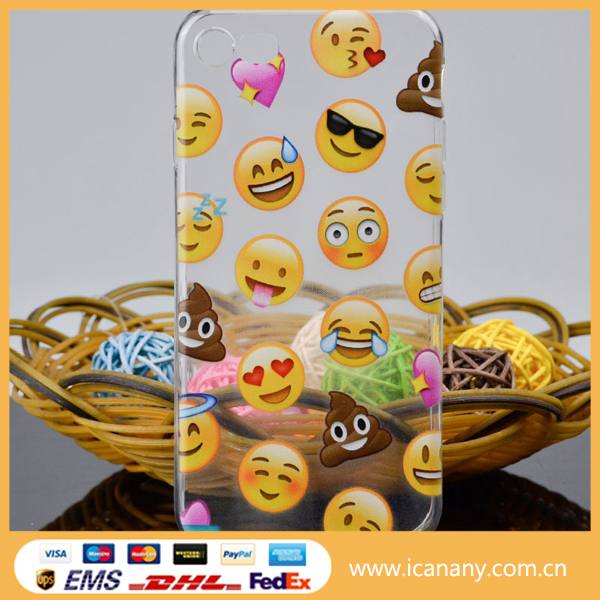 Wholesale cheap soft clear tpu funny emoji mobile phone cover transparent phone case
