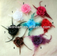 MXF0044 Feather Rose Corsage Hair Band To Small Flower, Headband With Flowers Hair Accessories