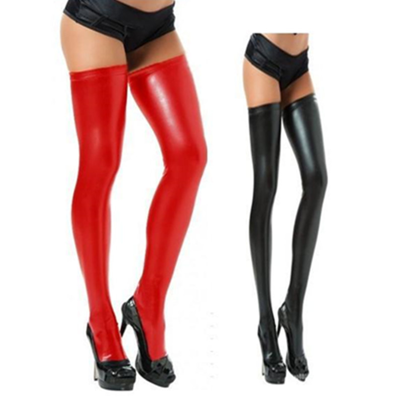 Hot Red Black Sexy Lingerie Women's Stockings Rubberized Elastic Faux Patent Leather Stocking Sex Toy Tied Bondage Sex Products