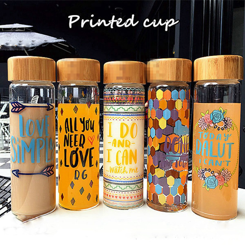 Professional custom portable juicer glass water <strong>bottle</strong> with bamboo lid