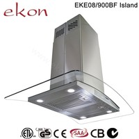 hot sale best ultra thin copper motor finger touch switch 4 LED european style 90cm 90cm curved glass kitchen island range hood