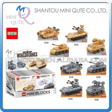 Mini Qute DR.STAR 8pcs/lot military army fighting war tank Vehicle plastic building block model education educational toy