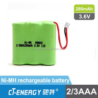 2/3AAA 3.6V 280mAh nimh battery for remote control car...
