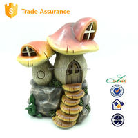 Mushroom resin garden fairy house