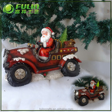 Car Shaped Outdoor Christmas Santa Claus Ornament With LED