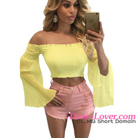 Yellow Bell Sleeve Off Shoulder crop top indian hot sex photos