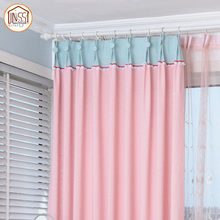 Safty Warm Red Lace Pink Cotton Fabric Curtain for Hospital Home Hotel