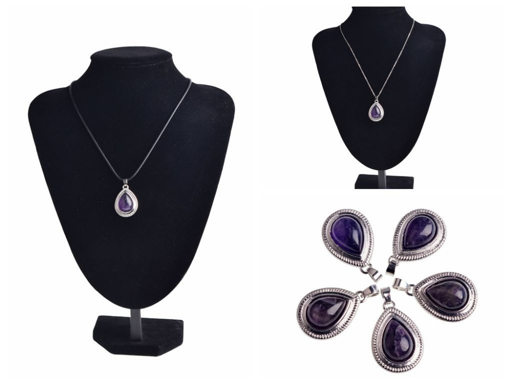 Amethyst Beads Beautiful Wire Wrap Teardrop Dangle Reiki Chakra Pendant Necklace for Jewelery Making