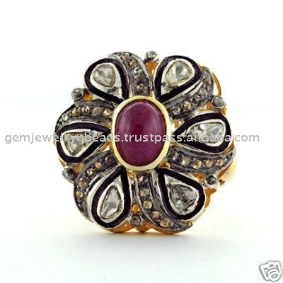 Beautiful Pretty Royal Flower Shape 925 Sterling Silver Uncut Diamond Ring 14k Gold Ruby Gemstone Ring For Fashionable & Stylist