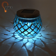 Fine appearance home garden decorative glass plastic metal lights make solar mosaic lamp