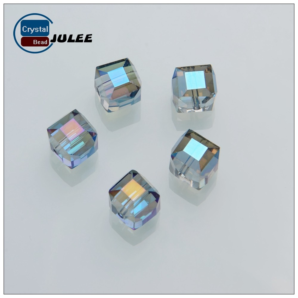 Faceted crystal wholesale beads 4mm cube shape manufacture glass beads decorating beads for lamp shade