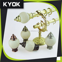 KYOK adjustable antique golden curtain hook, European design commercial curtain finial& resin curtain end caps