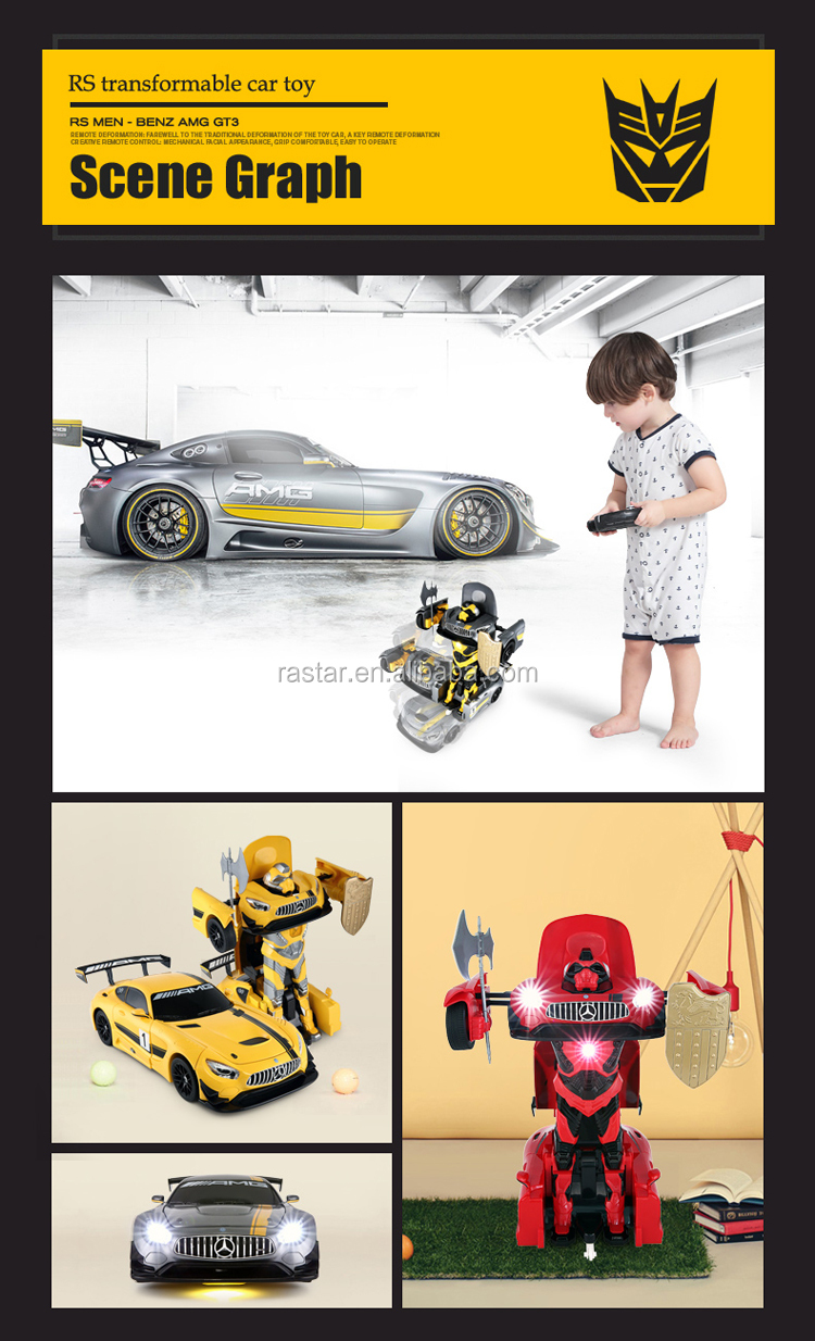 Rastar Benz GT3 colorful rc car smart transform robot toy car