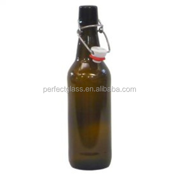 500ml ceramic swing top beer bottle/glass swing top bottles/amber glass swing top bottles