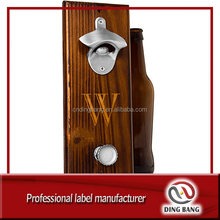 Custom Wholesale Wall Mounted Automatic Wooden Beer Bottle Opener With Magnetic Catcher