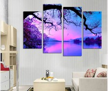 Canvas Painting Modular Picture 4 Panel Purple Tree Lake Picture Wall Art Home Decoration For Living Room Modern Printing Type